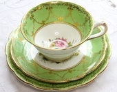 Victorian Tea Trio in soft green with rose motifs