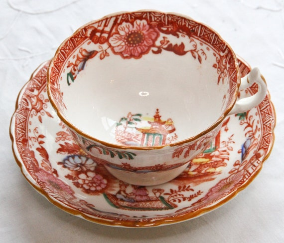 SALE ITEM: Charming Victorian 'Chinese-style' Tea Duo in dark red, plus TWO small plates