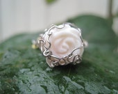 Rainy Day White Rose hand-carved Fairy Flower Ring - Size 8
