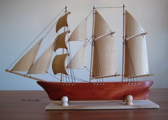 Hand Carved Barquentine Wood Ship Model