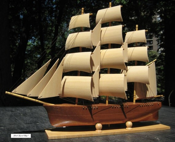Hand Carved, Hand Made African Mahogany Clipper Ship - Model Sailing Ship