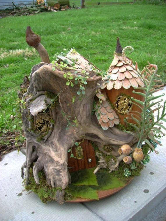 ooak driftwood fairy house unfurnished dollhouse by j. Black Bedroom Furniture Sets. Home Design Ideas