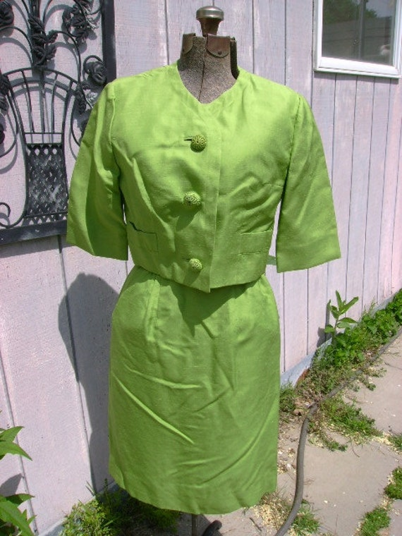 Very Jackie O vintage Dress with Jacket Lime Green size small 36 bust