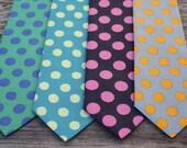Polka Dot Tie for Boys ( green , teal , pink , gray )