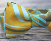 Child Bow Tie- Blue and Yellow Geometric Design
