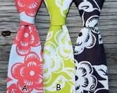 Boys Floral Tie - Coral Tie -- Charcoal Gray Tie