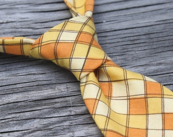 SALE yellow gingham tie - yellow tie - yellow checkered tie - back to school tie - school uniform - ties for boys - popcorn tie - orange tie