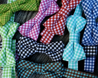 baby boy easter tie -- boys easter tie -- gingham bow tie -- plaid bow tie -- royal blue tie -- pink bow tie