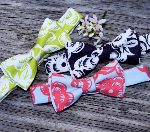 Floral Bowtie in Gray, Lime Green, or Gray and Coral Red