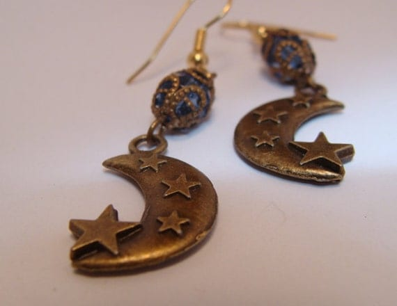 Elegant Dangle w Rosary Beads, Brass Moon Earrings - Super Witchy