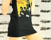 The Beatles Yes It Is Ticket To Ride Black T-Shirt Singlet Tank Top Women Size L