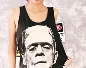 Frankenstein Horror Gothic Classic Film Movie Black Tank Top T-Shirts Women Size M L