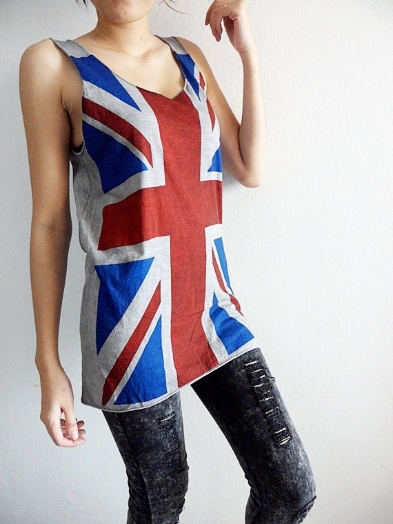 Items similar to union jack tank top t shirts women punk for Best selling t shirts on etsy
