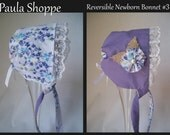 Newborn Reversible Vintage Inspired Bonnet with Lace with removable flower