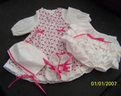 New Baby girl - Long sleeve dress in pink roses with diaper cover, bonnet and booties