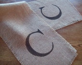 Initial Table Runner / Custom Burlap Table Runner / Wedding or Anniversary Gift