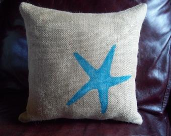 Burlap Starfish Pillow Decorative Beach Pillow More