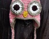 Newborn PInk Owl Beanie