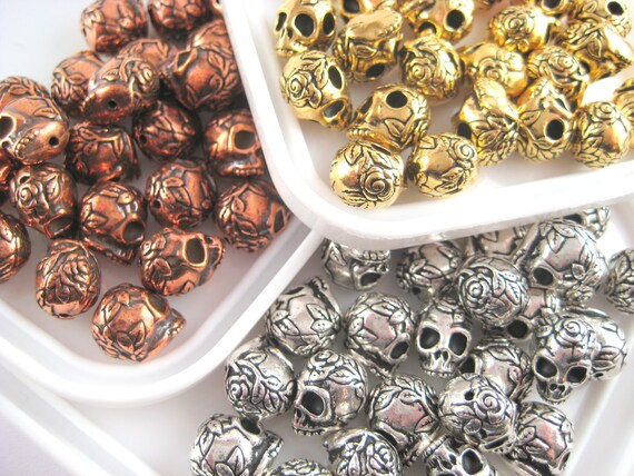 Skull Beads - Antique Gold, Silver and Copper-Plated Pewter