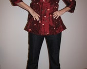 Item 331 Rich red silk embroidered womens jacket in M