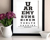 "Kids Room Wall Art Decor Eye Exam Chart Print -""You are my sunshine my only sunshine"""