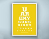 EYE EXAM CHART - You Are My Sunshine, Personalized Gift for him, husband, boyfriend, engagement, Gifts Under 25, eye exam print/ poster
