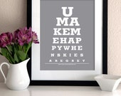 """Personalized print gift for Kids room wall decor/ art eye exam print/ poster -""""You make me happy when skies are grey"""""""