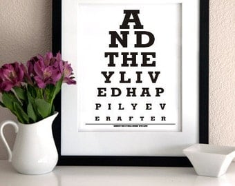 Anniversary Gift/Personalized Anniversary Gift( And they Lived Happily Ever After)Wedding Gift Print- Eye Exam Chart
