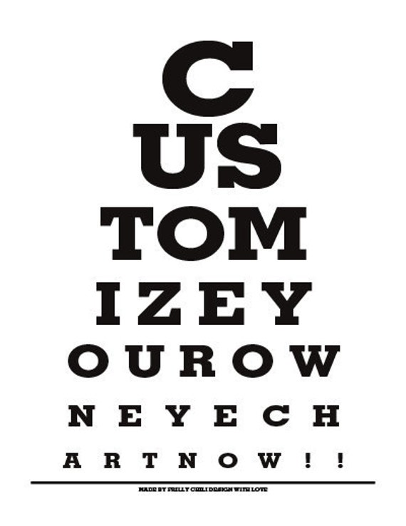 customize your own eye chart eye chart print by frillychilidesign