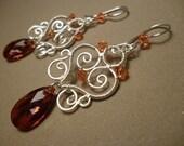 Swarovsky red sweetheart earrings - wire wrapped jewelry