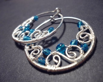 Hoop earrings in blue and silver - wire wrapped jewelry