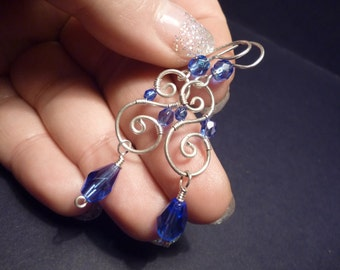 Spiral earrings in Royal blue and Silver  Wire Wrapped