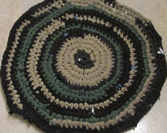 Upcycled T-Shirt Rug in earth tones, small, circular, washable, rustic.