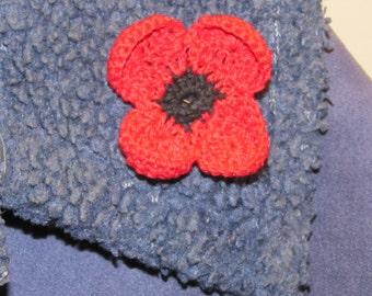Poppy Pin or applique - Instructions, PDF Crochet Pattern