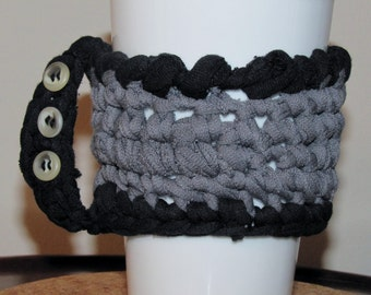 Cup Cozy - Hot or Cold hand protector, water bottle sleeve, coffee cuff. Upcycled cotton, vintage buttons