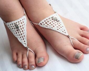 """Barefoot Sandals - Wedding footwear, jewellery, anklet-toe-ring """"Seahorse Bride""""."""