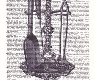 Steampunk Fireplace Tools - Printed Book Page