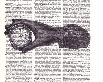 Steampunk Hand Holding a Clock  - Printed Book Page