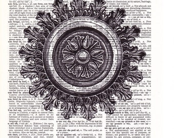 Steampunk Decorative Medallion - Printed Book Page
