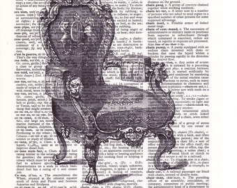 Steampunk Victorian Chair - Printed Book Page