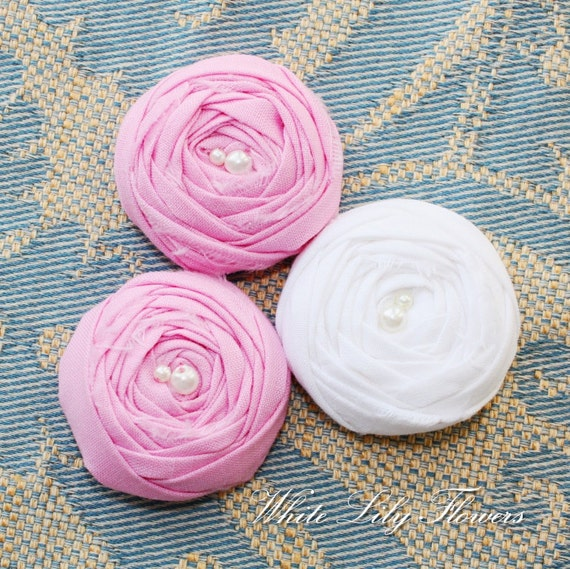 3 Rolled Fabric Rosette Flower Embellishments 1.5 inch for Crafting - Two Pink One White Fabric Roses with Pearls