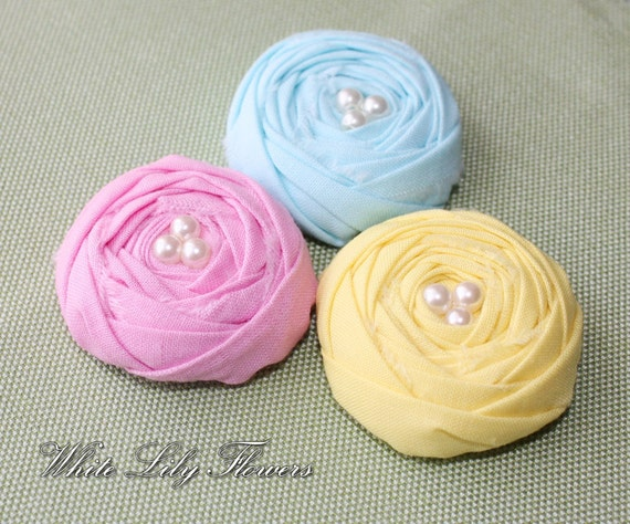 Rolled Fabric Rosette Embellishments, Fabric rosettes, rolled rosette, cotton flowers, Ice Cream Colors,1.5 inches