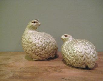 Pair of Vintage Hand-Painted Ceramic Partridges