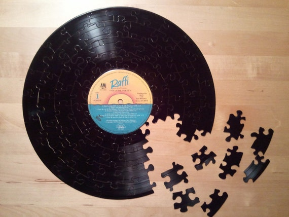 Vintage Lp Record Puzzle 70 Pieces Handcrafted Repurposed