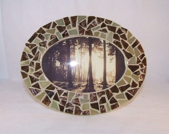 SALE: Glass Mosaic Picture Frame - Brown & Beige Oval