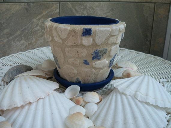 SALE: Travertine Stone Flower Pot Cream & Blue Mosaic