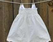 White Embroidered Baby Dress, Smocked Eyelet, Great for beach weddings, Easter and portraits... 3m,6m,9m,12m,18m,24m,2t