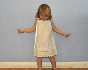 White Eyelet Lace Pillowcase Dress, rustic flower girl dress, Easter dress..9m,12m,18m,2t,3t,4,5,6