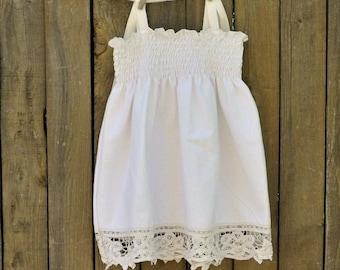 Vintage Lace Flowergirl Dess, White Cotton with Cotton Lacework, size 9m-12m-18m-2t, 3t,4t