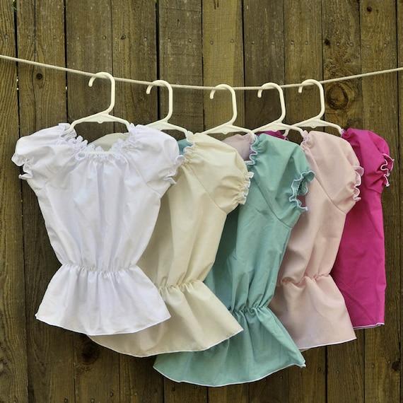 Girl's Peasant Blouse, top, Shirt...White, Cream, Pink, Blue, Black...Eco-friendly...12m,18m,2t,3t,4t,5,6,8, 10